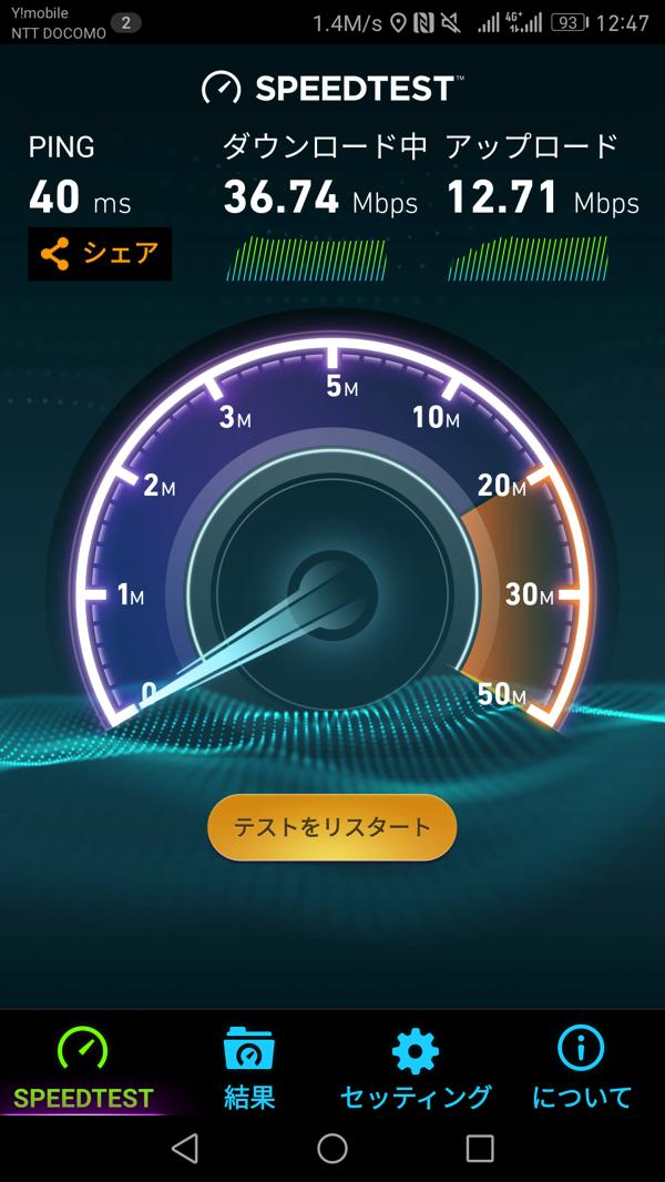 LINEモバイル:平日お昼時間帯の通信速度が回復