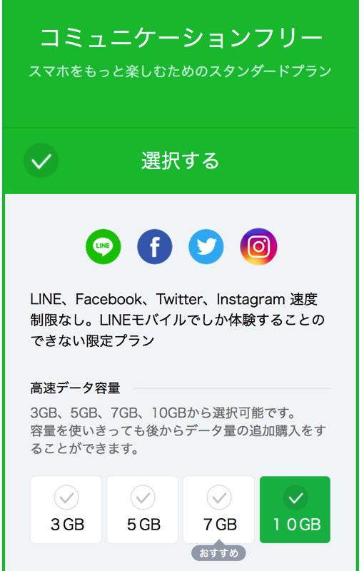 LINEモバイル:コミュニケーションフリープラン(10GB)を申込