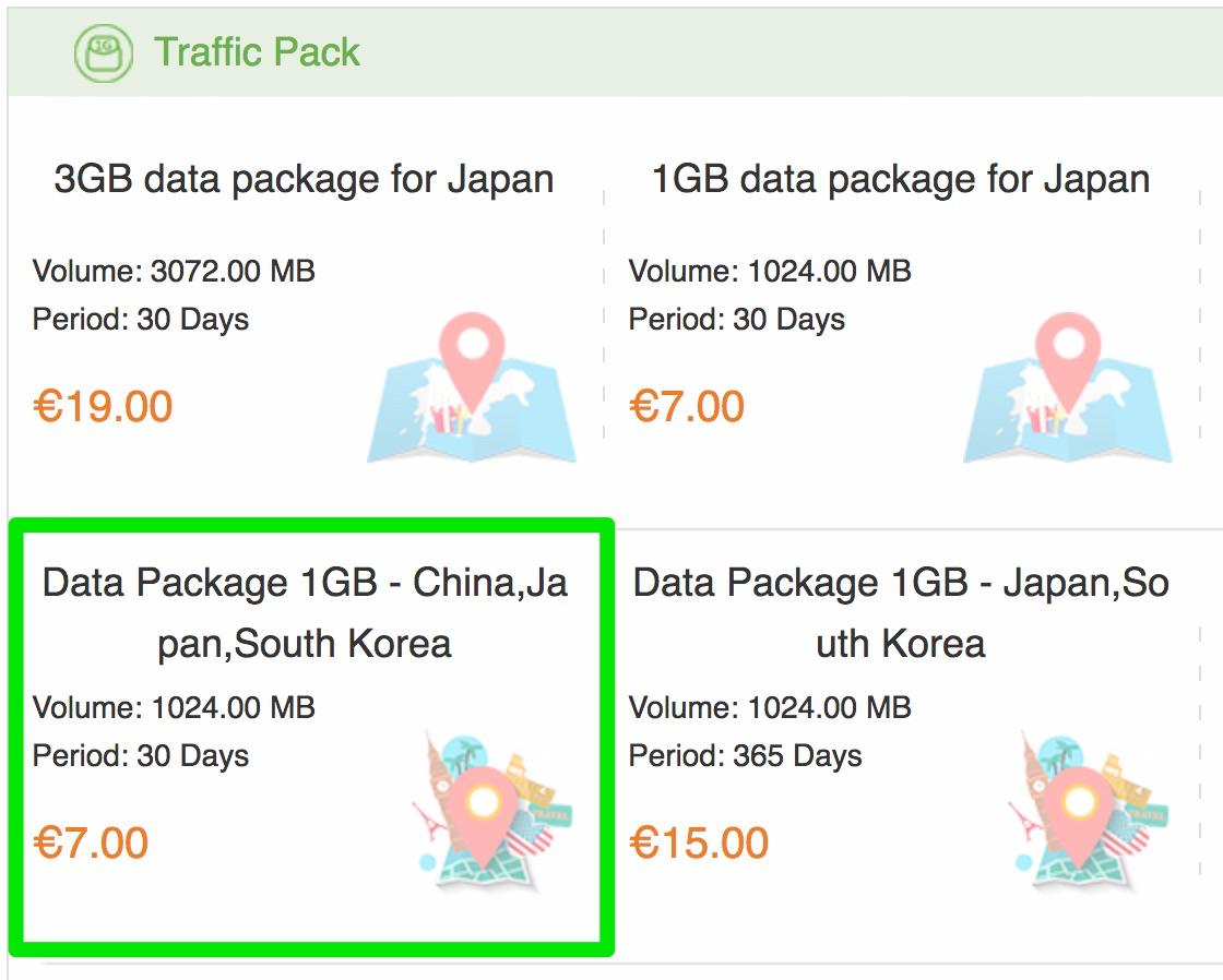 GlocalMe:日本・中国・韓国で使える1GBパッケージが7ユーロ