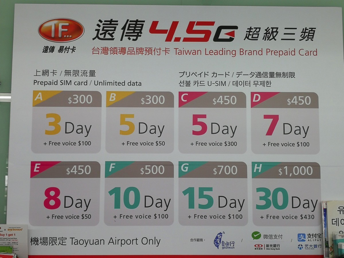 桃園空港で買えるプリペイドSIM価格:遠傳電信