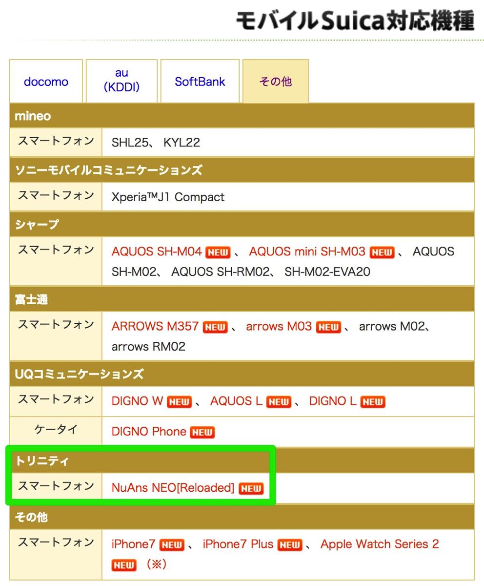 モバイルSuica:対応機種にNuAns NEO [Reloaded]が追加
