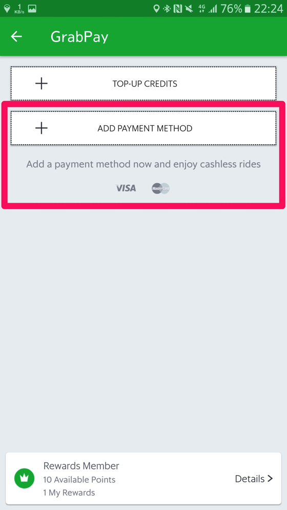 「ADD PAYMENT METHOD」を選択