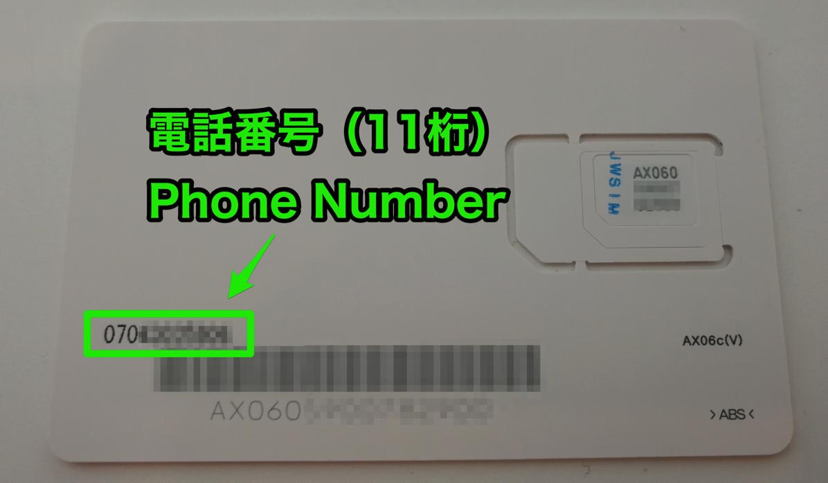 電話番号(SIMカードの台紙に記載されている)