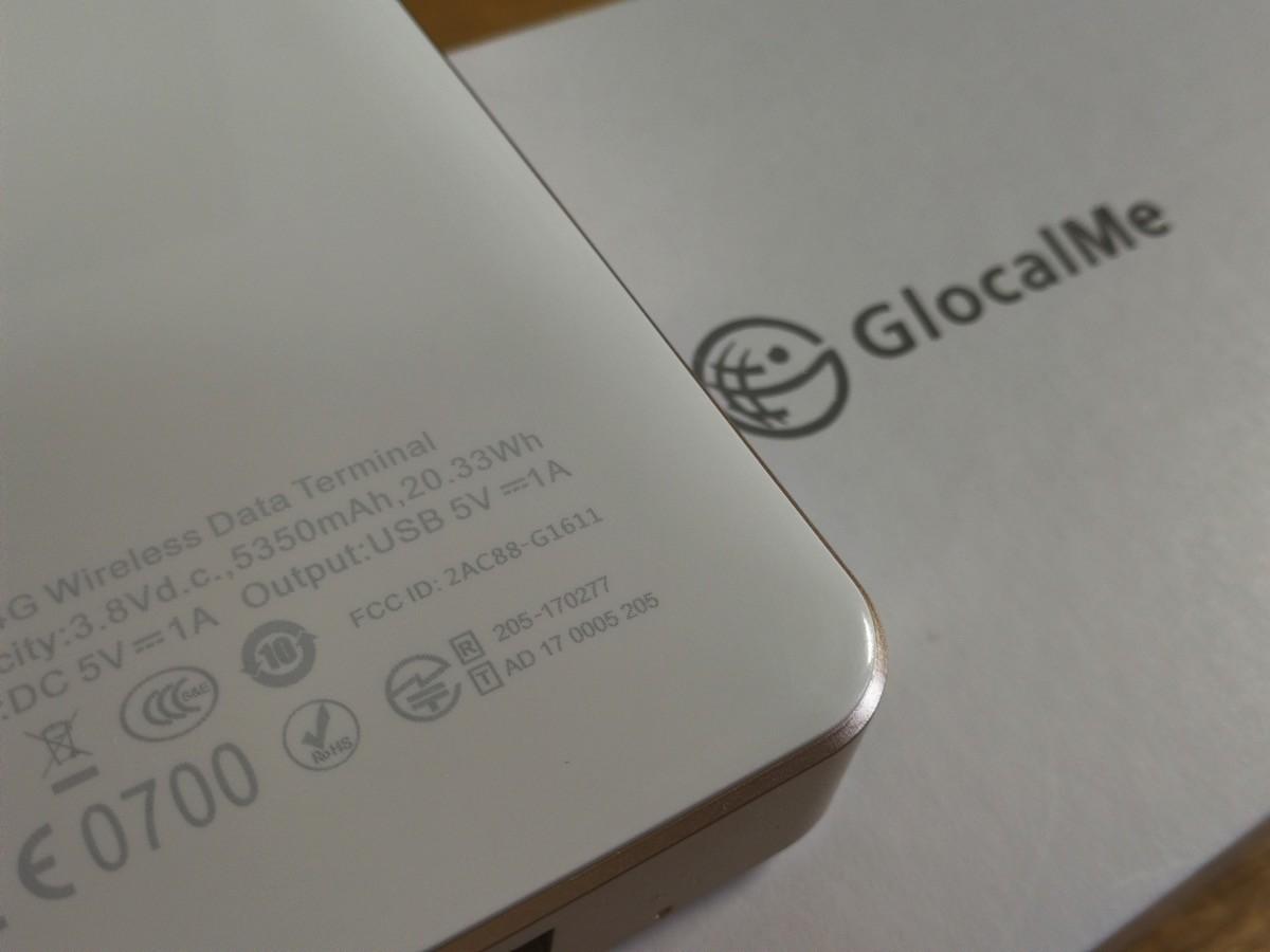 「GlocalMe G3」は技適マークあり