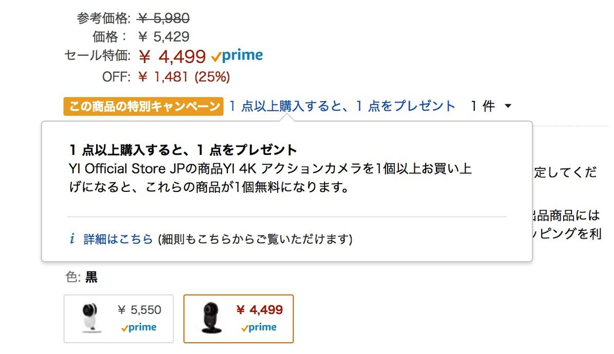 YI 4Kアクションカムを購入すると「YIホームカメラ」がプレゼント