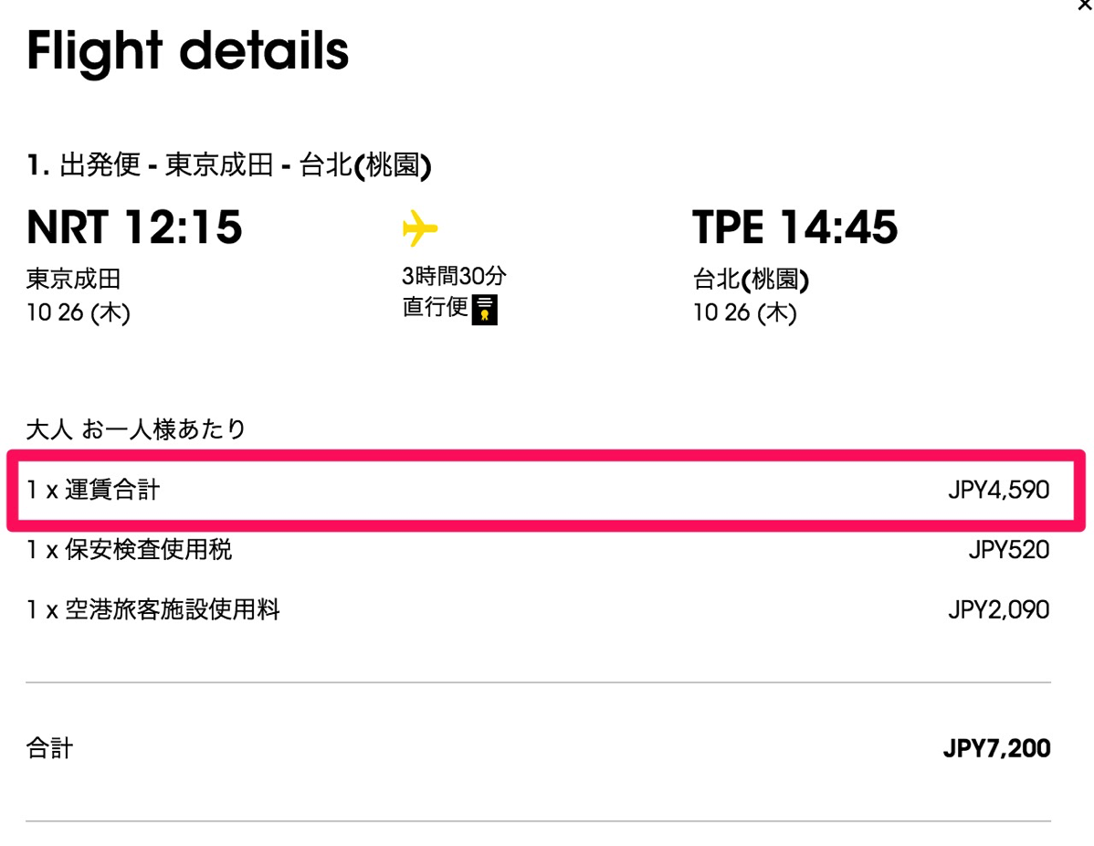 成田→台北:航空券代は片道約4,500円