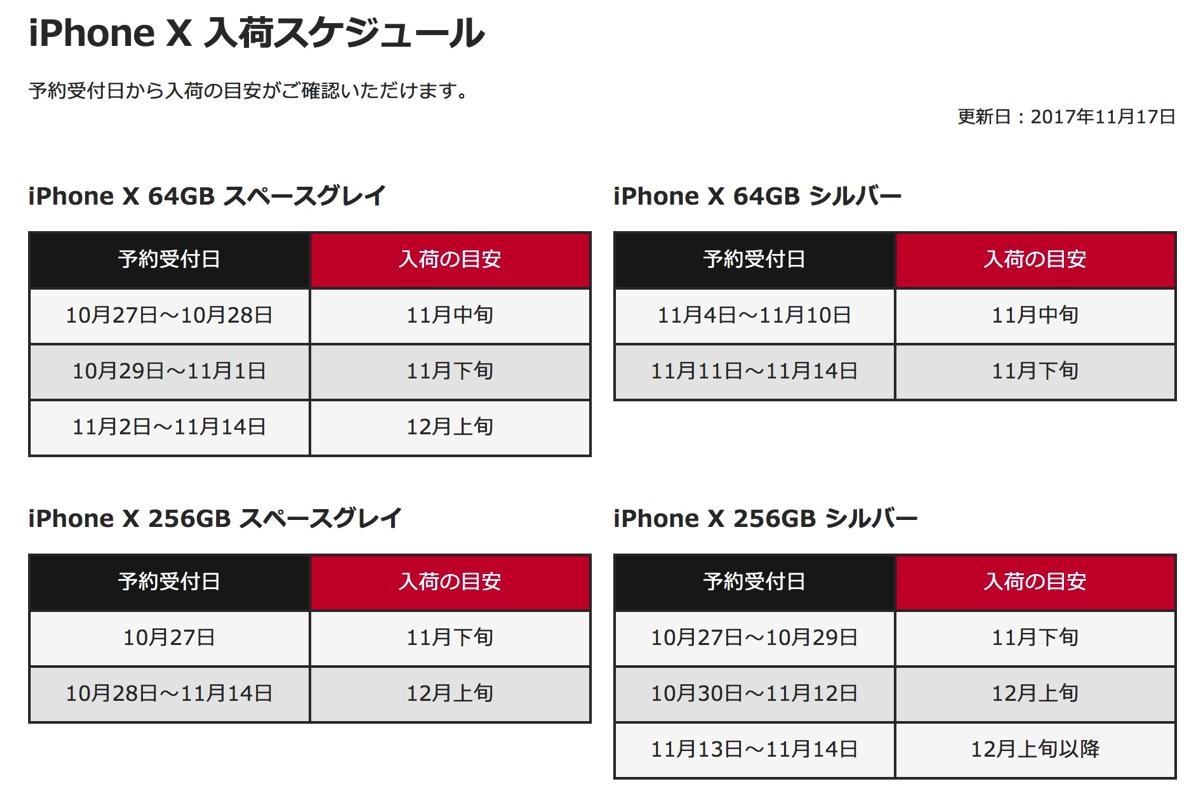 「iPhone X」入荷スケジュール