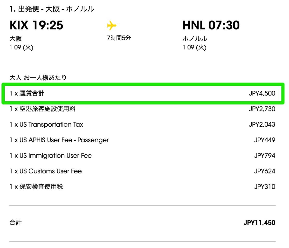 関空〜ホノルルが片道4,500円