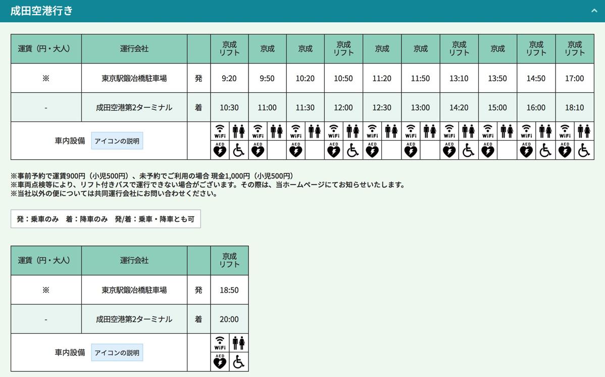 時刻表(東京駅鍛治屋橋駐車場→成田空港第2ターミナル)
