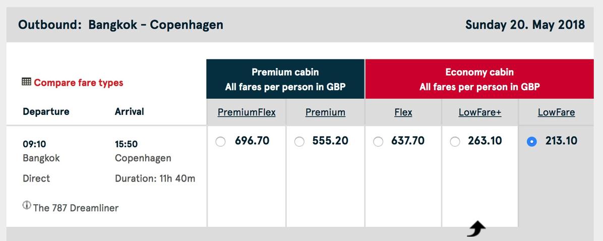 バンコク→コペンハーゲン:ノルウェーエアシャトル