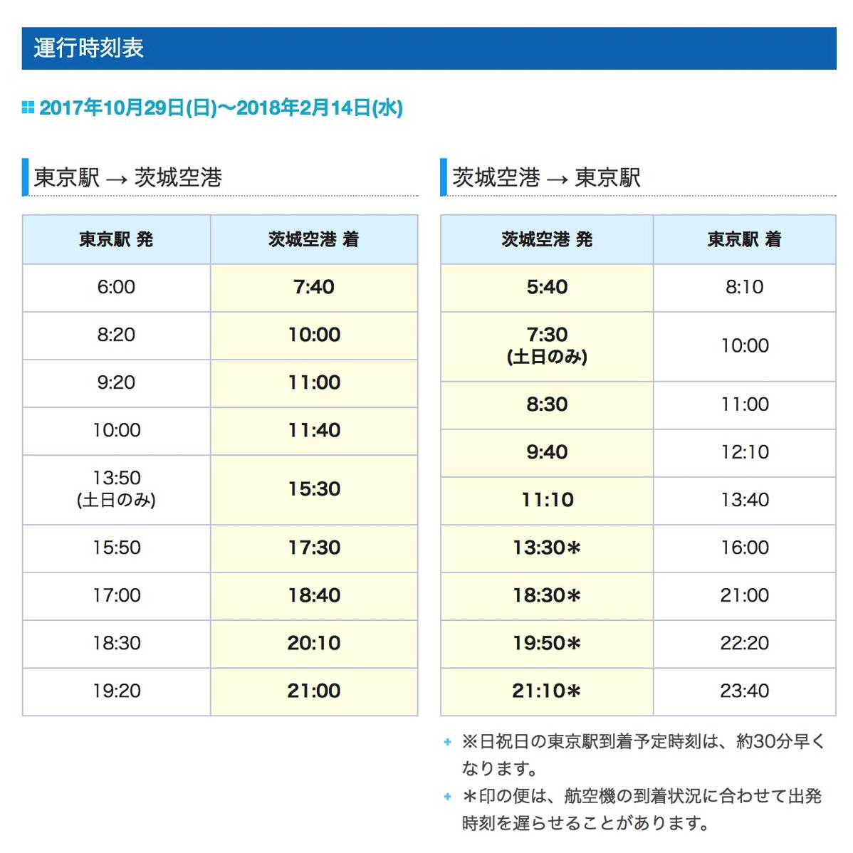 東京駅〜茨城空港のバス時刻表