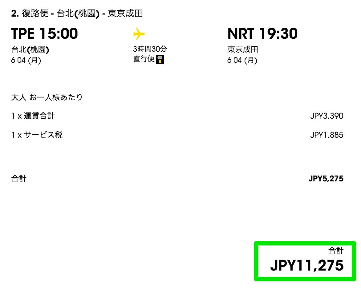 成田-台北が往復11,275円