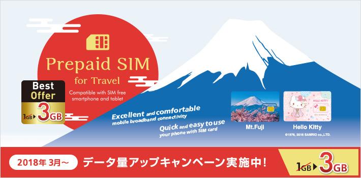Prepaid SIM for Travelでデータ量アップキャンペーン実施