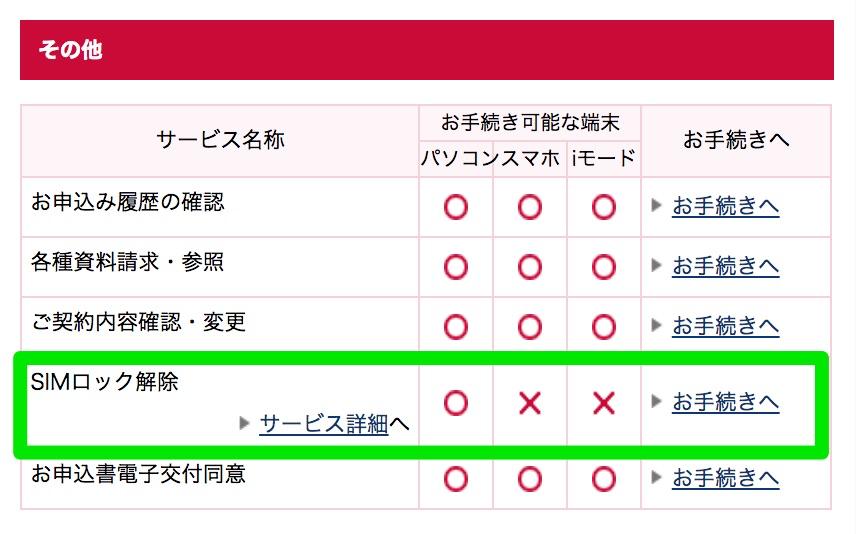 ドコモオンライン手続き>SIMロック解除