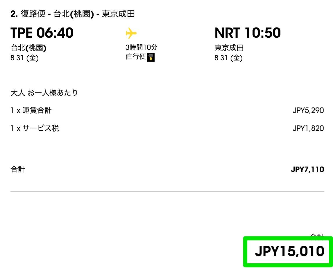 成田-台北が往復約15,000円