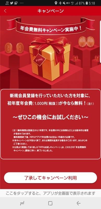 年会費(1,080円)はキャンペーンで無料