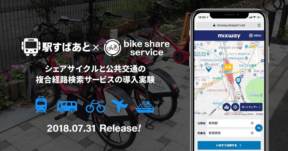 【報道発表】ドコモ・バイクシェアと公共交通の複合経路検索サービス「mixway」が連携 都内10区を対象に7月31日実証実験スタート