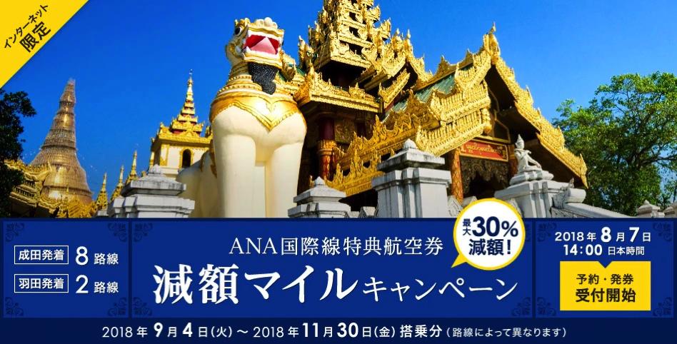 ANA国際線特典航空券 減額マイルキャンペーン