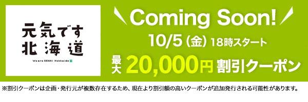 楽天トラベル:北海道ふっこう割クーポンを10月5日(金)18時配布