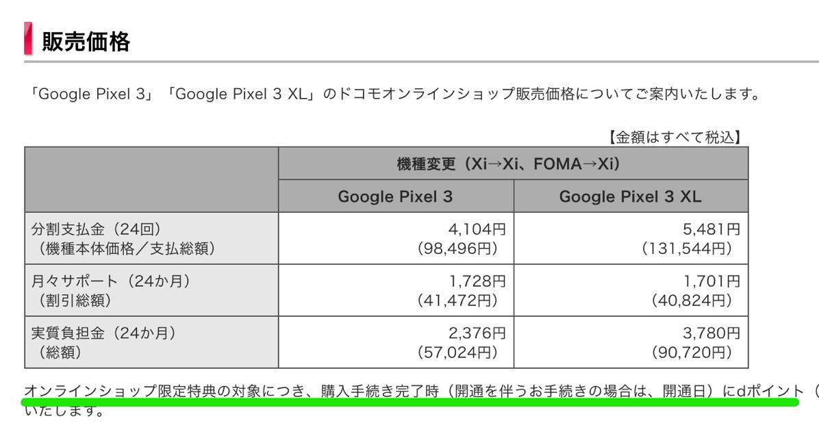 Pixel 3/Pixel 3 XL(ドコモオンラインショップ)