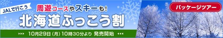JAL:北海道ふっこう割(周遊コース・スキーなど)発売