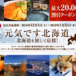 【るるぶトラベル】北海道ふっこう割第3弾、ホテル最大20,000円引きクーポン配布