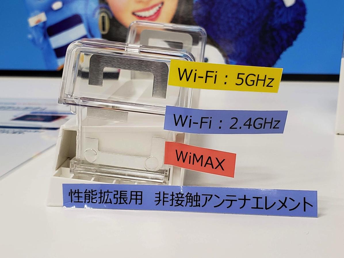 クレードルの両端にWiMAX 2+とWi-Fi(2.4GHz/5GHz帯)のアンテナを搭載