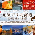 るるぶトラベル、北海道の宿泊が最大20,000円割引・3月末まで対象のクーポン配布