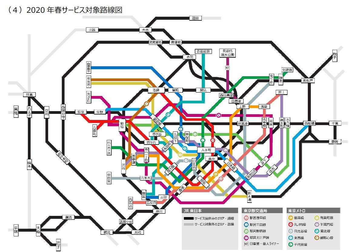2020年春サービス対象路線図