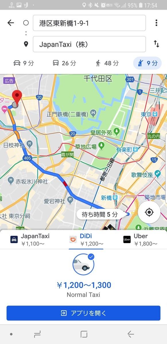Googleマップ:徒歩/車/公共交通機関/タクシーが表示される