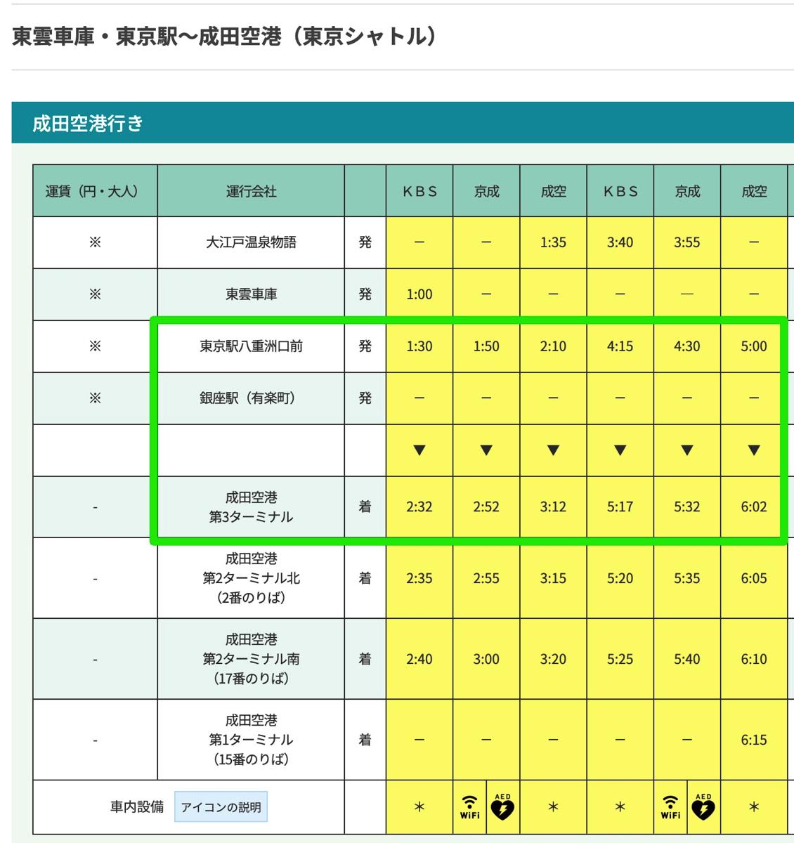 東京シャトル 時刻表(2019/3/28 以降)