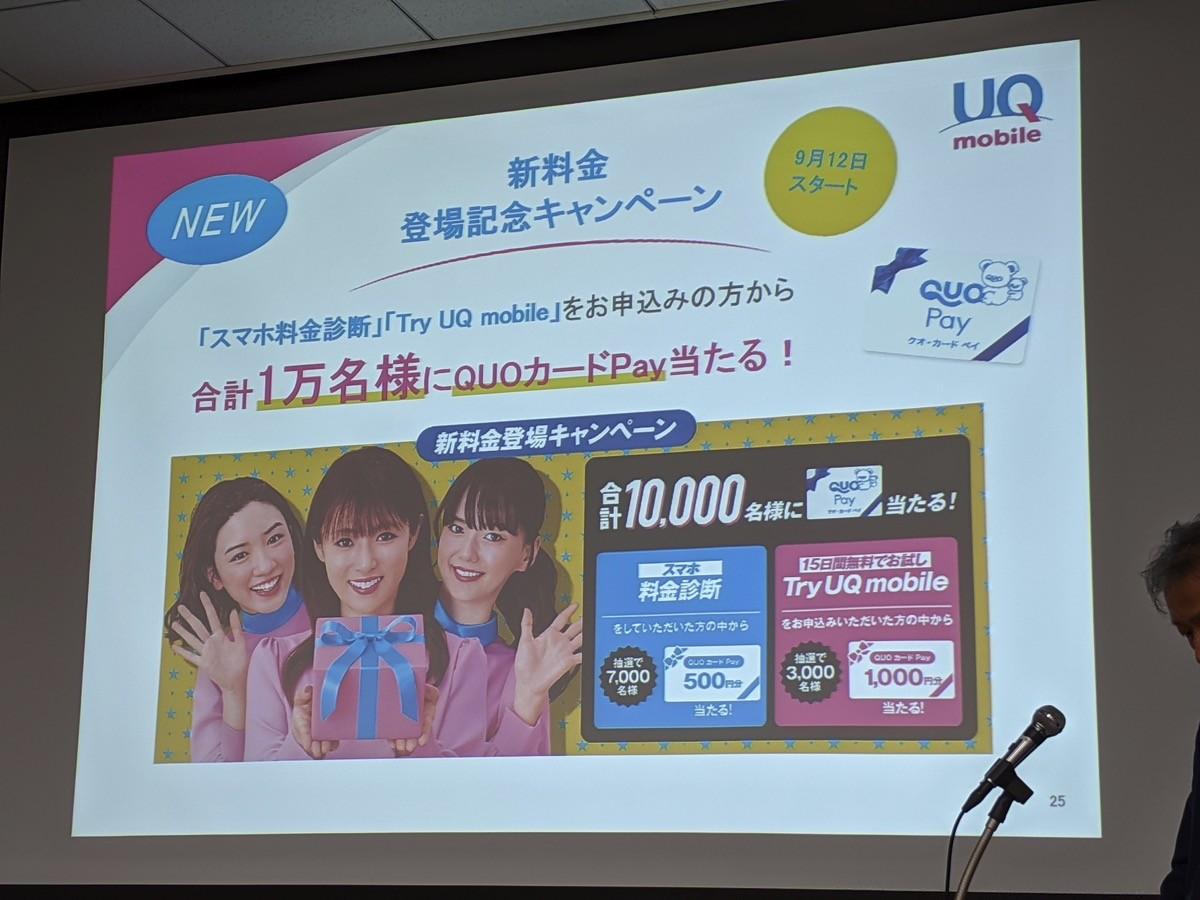 UQ mobile:新料金にあわせたキャンペーン