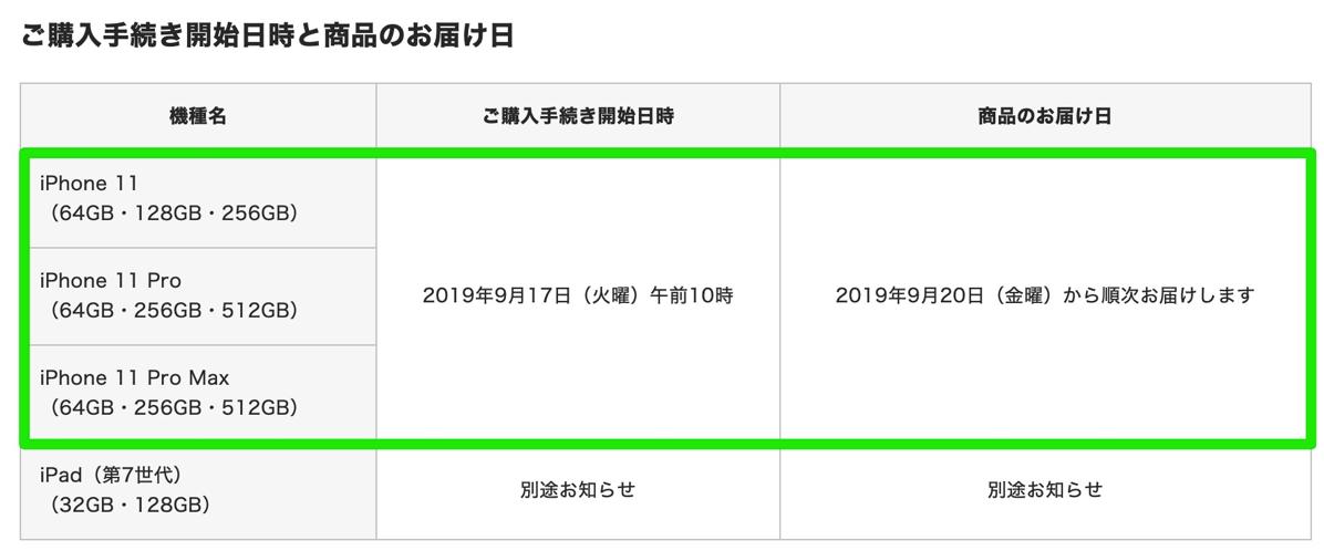 ドコモオンラインショップ:iPhone 11の購入手続は9月17日(火)10時受付開始