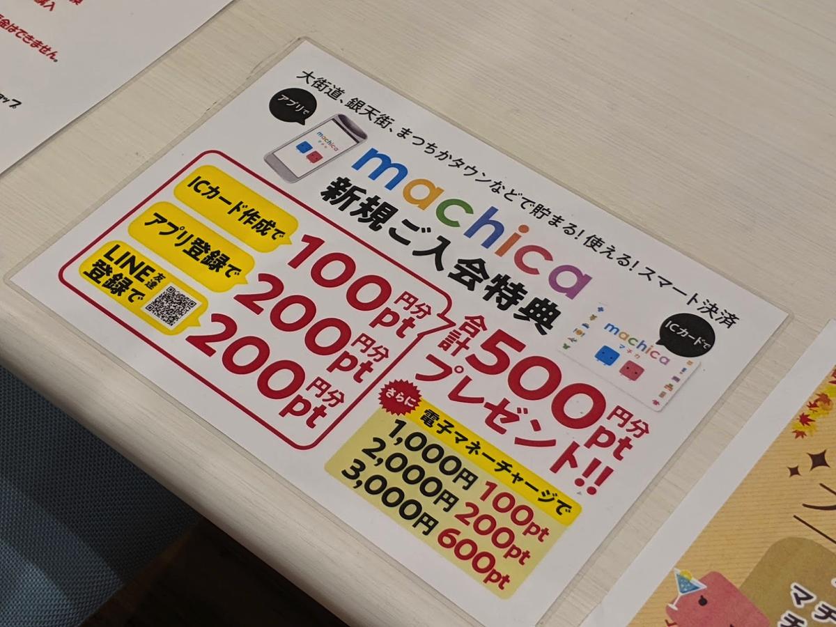 マチカショップでカード発行→アプリ登録&LINE登録で500ポイント
