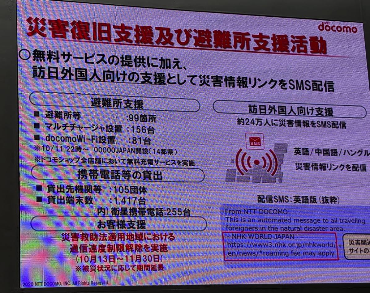 令和元年台風15号/19号の発生に伴い、訪日外国人向けのSMS配信