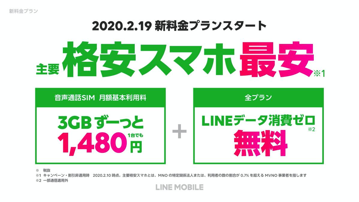 LINEモバイル新プラン(2020年2月19日スタート)