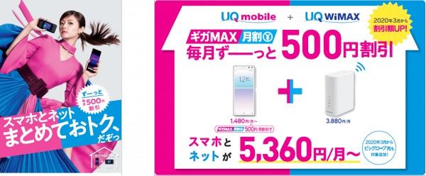 「ギガMAX月割」を300円→500円に拡大