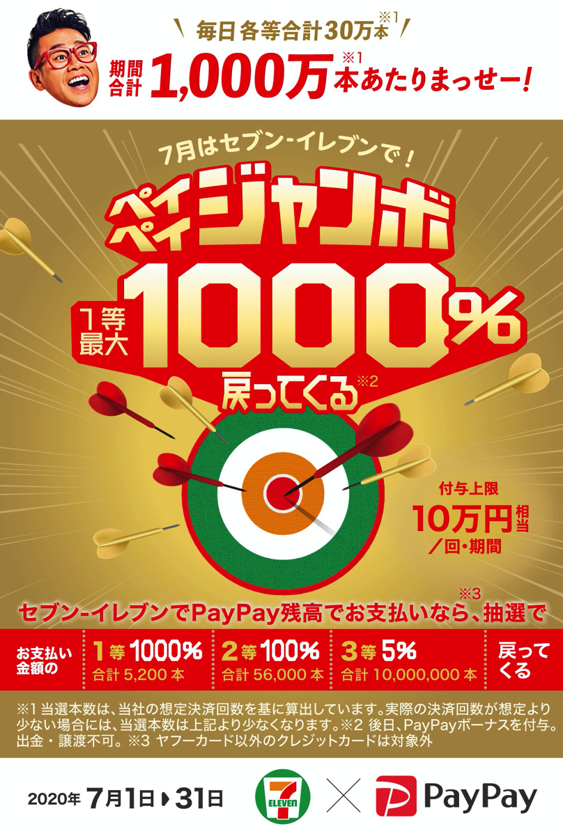 【PayPay】セブンイレブンで1等1000%還元、2等100%還元キャンペーンを7月に開催