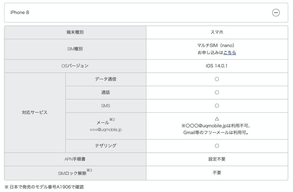 UQ mobile:対応機種(iPhone 8)