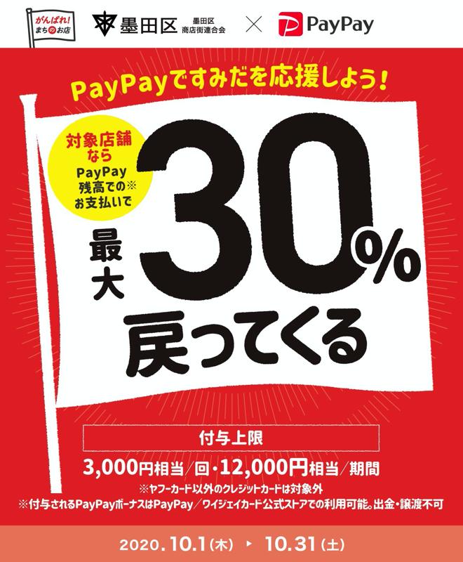 PayPay:墨田区のお店で30%還元