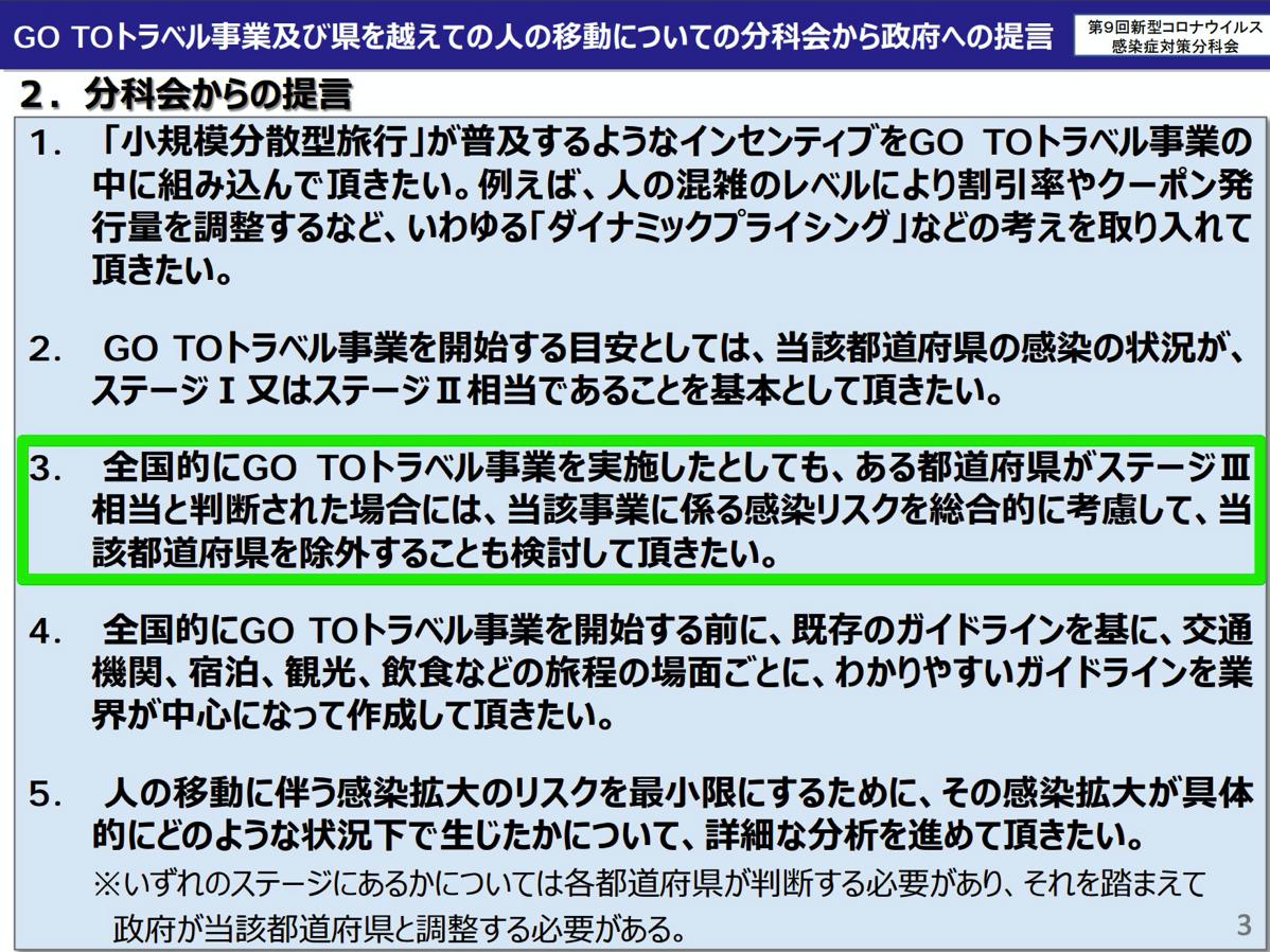 Go To トラベル事業や県を超えた移動に関する提言(9月11日付)