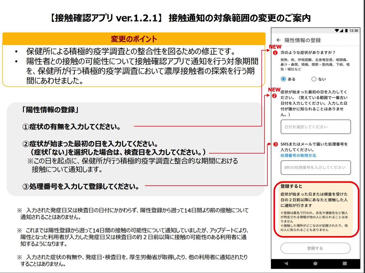 COCOAアプリでの陽性情報登録画面