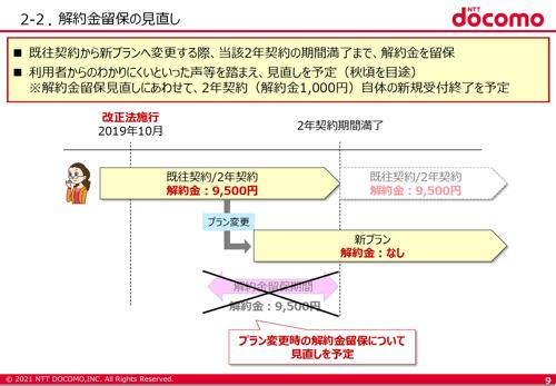 ドコモ:新プラン移行で解除料を免除(2021年秋を目処に)