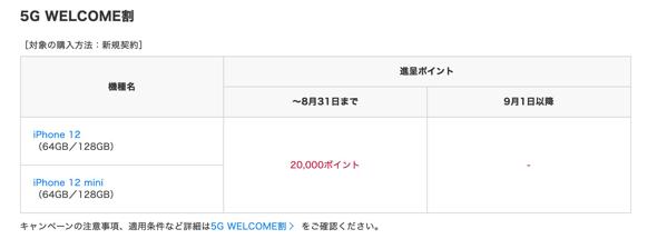 ドコモオンラインショップ:iPhone 12 / 12 mini向けの「5G WELCOME割」は8月31日まで